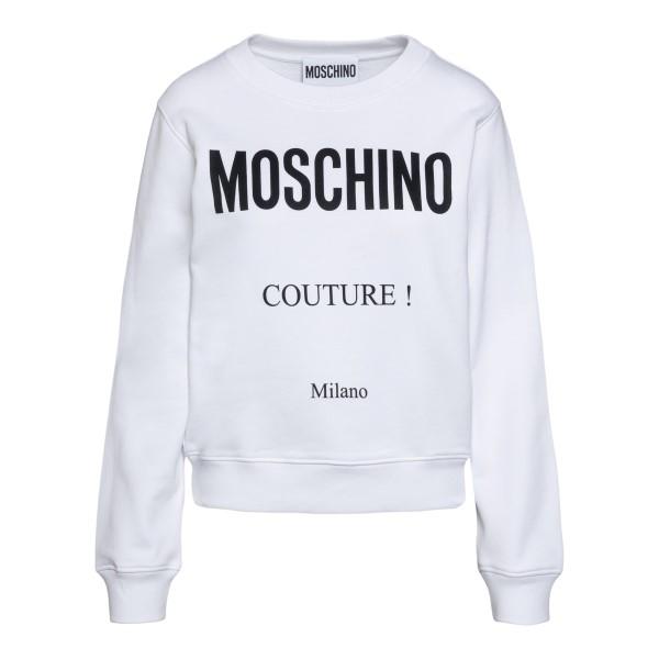 White sweatshirt with contrasting logo                                                                                                                Moschino 1717 back
