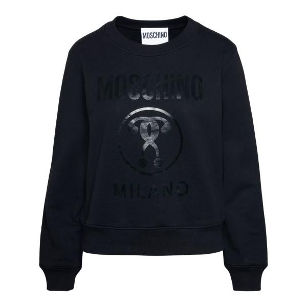 Black sweatshirt with glossy logo print                                                                                                               Moschino 1718 back