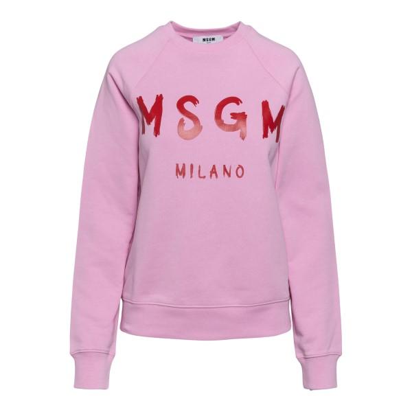 Pink sweatshirt with logo print                                                                                                                       Msgm 3041MDM89 back