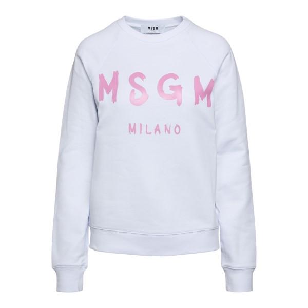 White sweatshirt with logo print                                                                                                                      Msgm 3041MDM89 front
