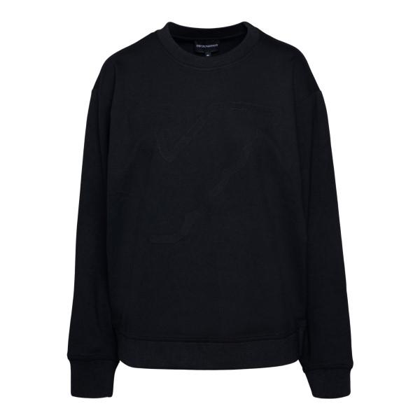Black sweatshirt with oversized logo                                                                                                                  Emporio Armani 3K2M7S back