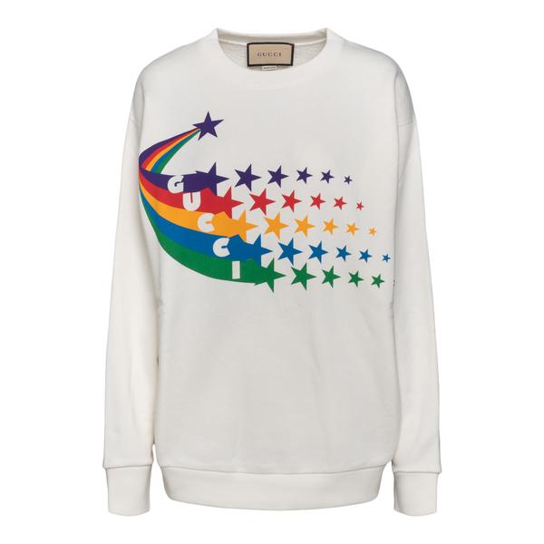 Felpa bianca con stampa arcobaleno                                                                                                                    Gucci 617964 retro