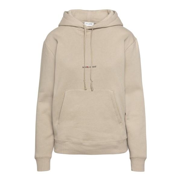 Beige sweatshirt with logo print                                                                                                                      Saint Laurent 647993 back