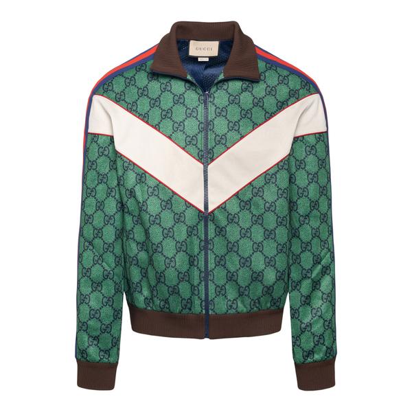 Green sweatshirt with logo pattern                                                                                                                    Gucci 653367 back