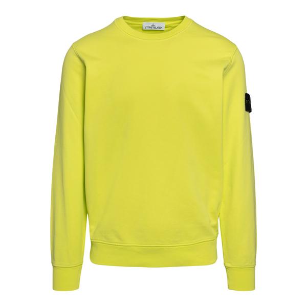 Fluo yellow sweatshirt with logo                                                                                                                      Stone Island 7415630 back
