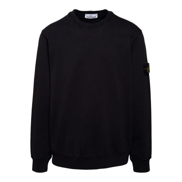 Black sweatshirt with logo patch                                                                                                                      Stone Island 7415630 back