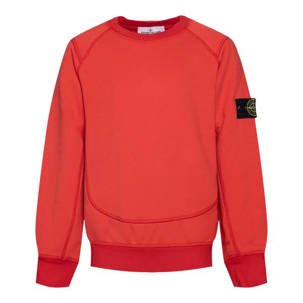 Felpa rossa con logo su manica                                                                                                                        Stone Island 7516606_2 retro