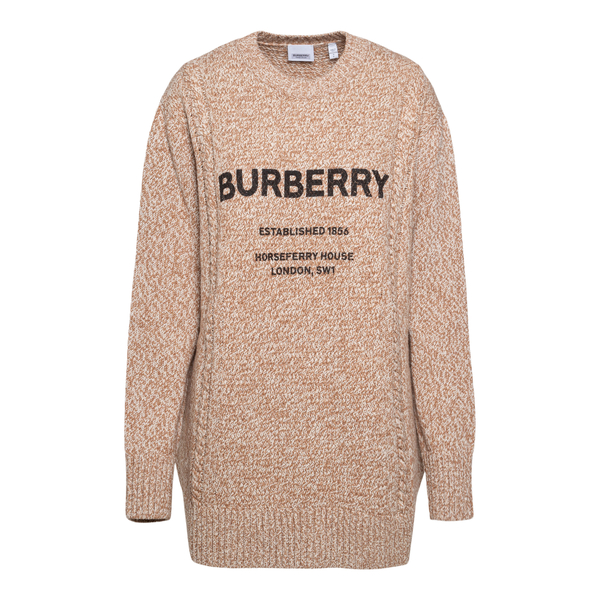 Long beige sweater with brand name                                                                                                                    Burberry 8042432 back