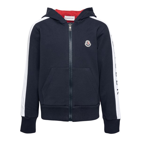 Blue sweatshirt with logo patch and print                                                                                                             Moncler 8G75720 back