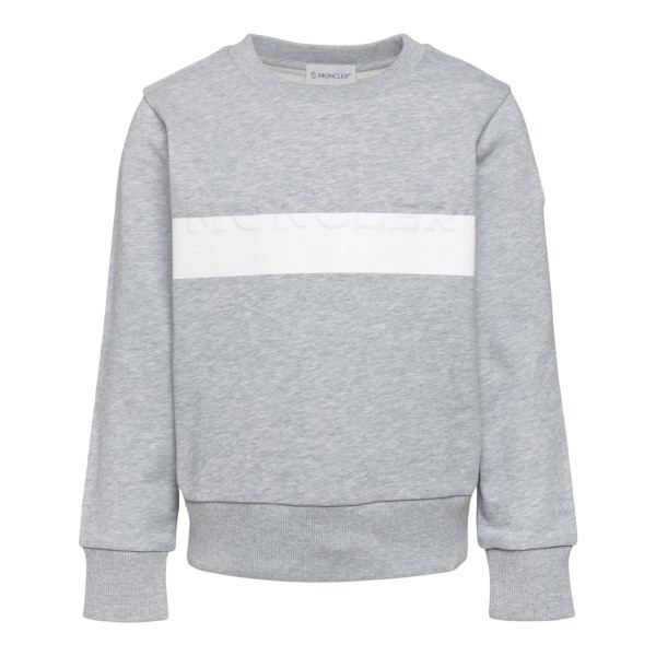 Grey sweatshirt with front band detail                                                                                                                Moncler 8G76120 back