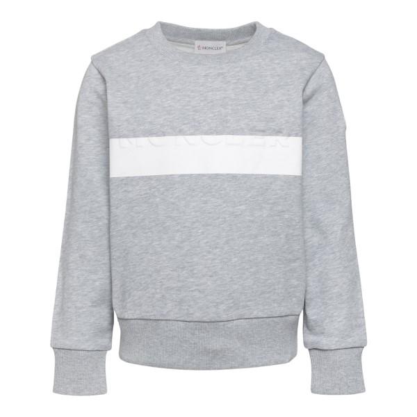 Grey sweatshirt with band print                                                                                                                       Moncler 8G76120_1 back