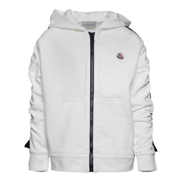 Felpa bianca con logo e dettagli a fascia                                                                                                             Moncler 8G76310 retro