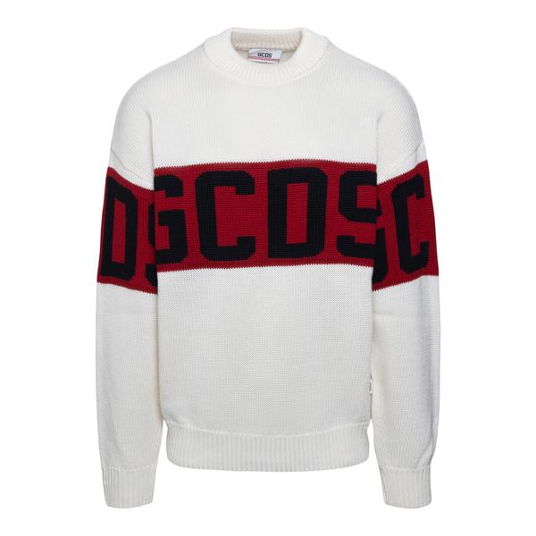 Maglione bianco con fascia logo                                                                                                                       Gcds CC94M021150 retro
