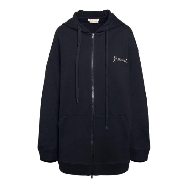 Black sweatshirt with embroidery                                                                                                                      Marni FLJE0103X0 front