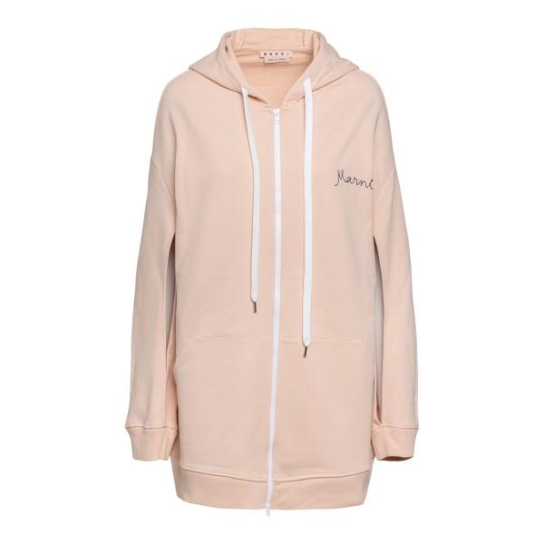 Pink sweatshirt with logo embroidery                                                                                                                  Marni FLJE0103X0 front
