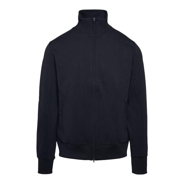 Minimal black sweatshirt with zip                                                                                                                     Y3 FN3376 back