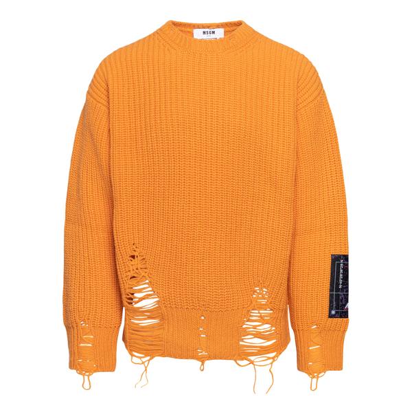 Maglione arancione in effetto vissuto                                                                                                                 Msgm MM130 retro