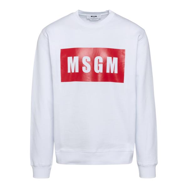 White crewneck sweatshirt with logo                                                                                                                   Msgm MM523 back