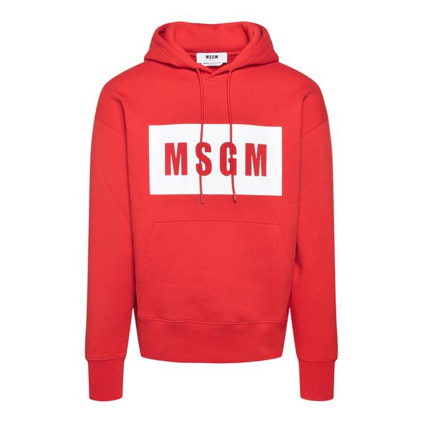 Red sweatshirt with logo print                                                                                                                        Msgm MM525 back