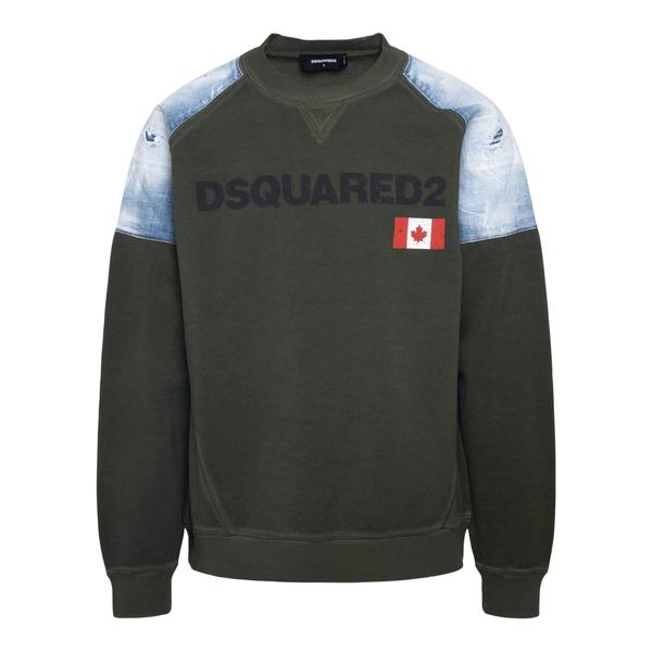 Green sweatshirt with denim details                                                                                                                   Dsquared2 S71GU0459 back