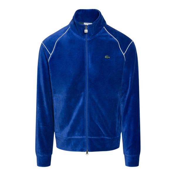 Blue velvet effect sweatshirt with logo                                                                                                               Lacoste L!ve SH7261 back