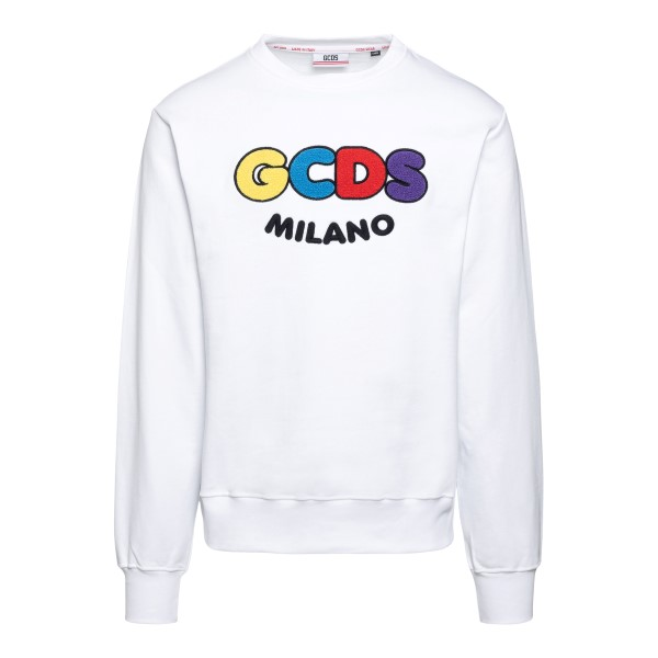 White sweatshirt with multicolor logo embroid                                                                                                         Gcds SS21M020600 front