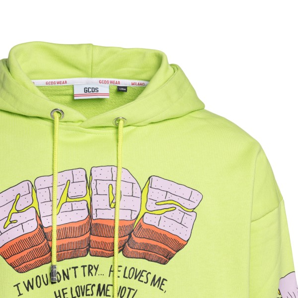 Green sweatshirt with large graphic print                                                                                                              GCDS
