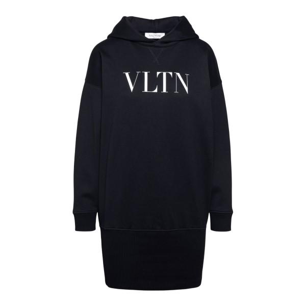 Black sweatshirt with logo and elastic hem                                                                                                            Valentino VB3MF08L back