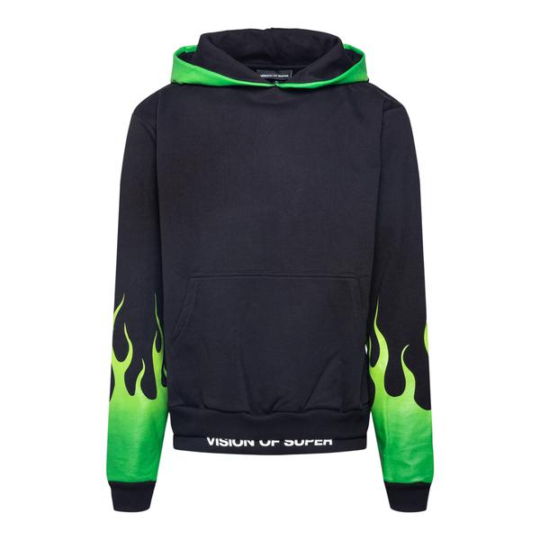 Felpa nera con fiamme verdi                                                                                                                           Vision Of Super VOSB2GREENSFU retro