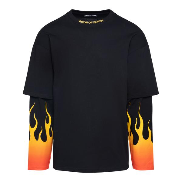 T-shirt nera con stampa fiamme                                                                                                                        Vision Of Super VOSBLONGREDSFU retro