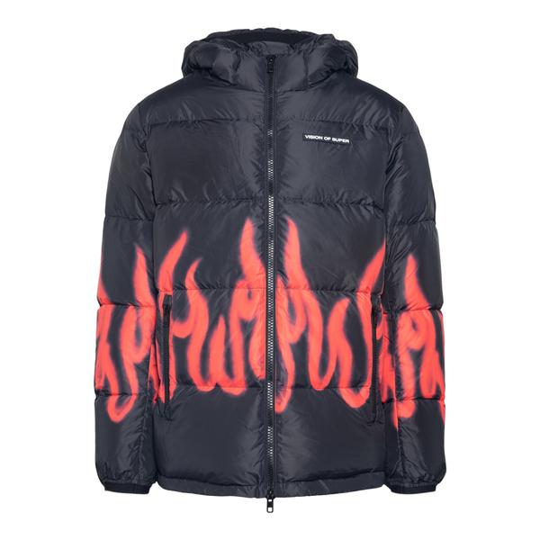 Black down jacket with flames                                                                                                                         Vision Of Super VOSPUFFYREDFL back