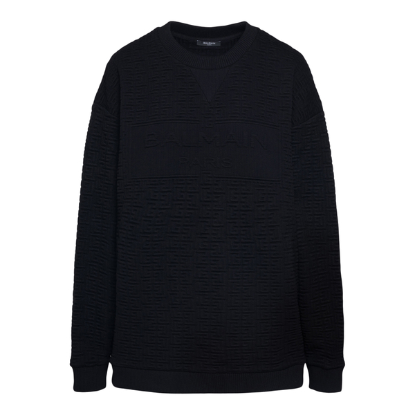 Felpa nera con logo a tono                                                                                                                            Balmain WF1JS000J184 retro