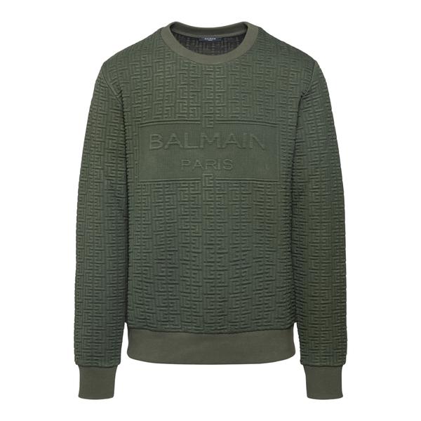 Felpa verde con texture                                                                                                                               Balmain WH0JQ040J296 retro