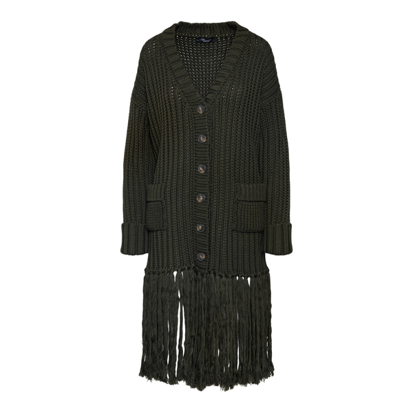 Long green cardigan with fringes                                                                                                                      Blumarine 2M028A back