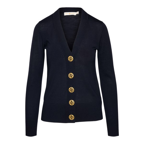 Blue cardigan with gold buttons                                                                                                                       Tory Burch 64676 back