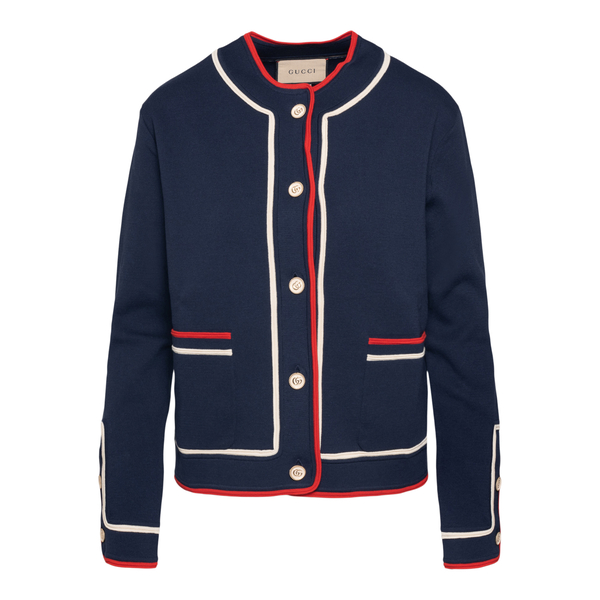 Blue cardigan with red and white details                                                                                                              Gucci 658362 back