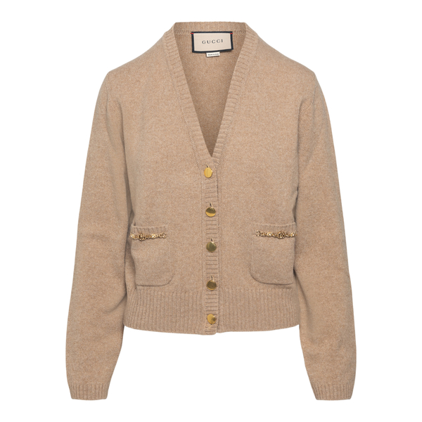 Beige cardigan with golden clamps                                                                                                                     Gucci 662189 back