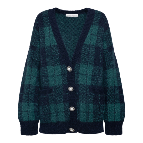 Green and blue checked cardigan                                                                                                                       Alessandra Rich FAB2623 back