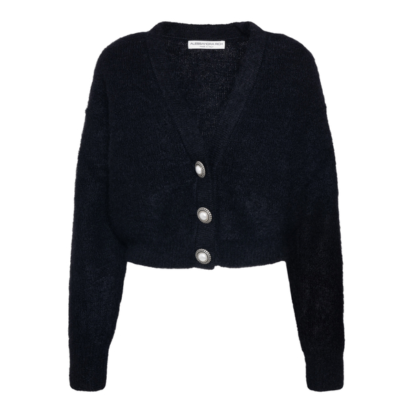 Black cardigan with pearl buttons                                                                                                                     Alessandra Rich FAB2632 back