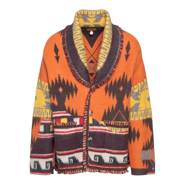 Cardigan multicolore con motivo geometrico                                                                                                            Alanui LMHB025F21KNI014 retro