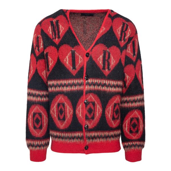 Cardigan rosso con pattern                                                                                                                            Amiri MKC014 retro