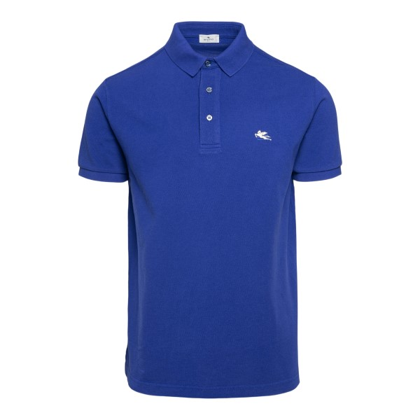 Blue polo shirt with logo embroidery                                                                                                                  Etro 1Y140 front