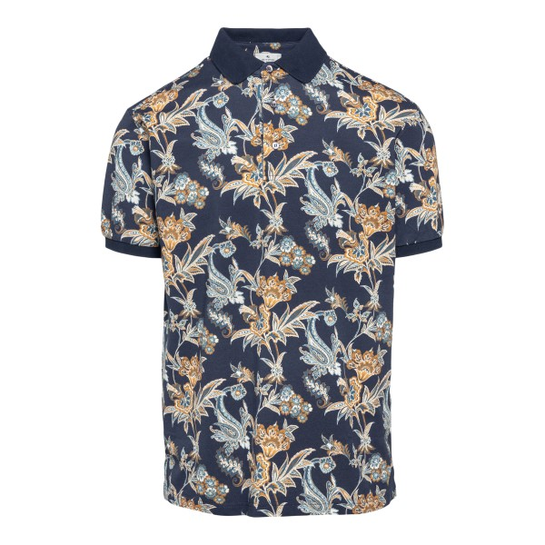 Blue polo shirt with floral print                                                                                                                     Etro 1Y800 front