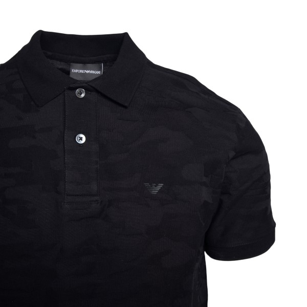 Black polo shirt with camouflage pattern                                                                                                               EMPORIO ARMANI