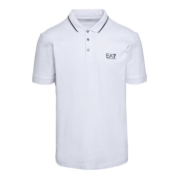 White polo shirt with logo and striped detail                                                                                                         Ea7 8NPF06 back