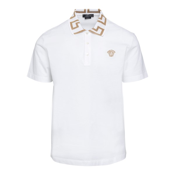 White polo shirt with Greca embroidery                                                                                                                Versace A87402 front