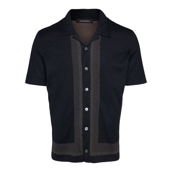 Black knit shirt with buttoning                                                                                                                       Zegna C32 back