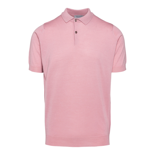 Classic pink polo shirt                                                                                                                               John Smedley CPAYTON front