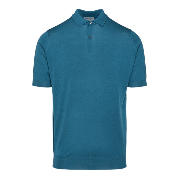 Classic polo shirt in petrol blue                                                                                                                     John Smedley CPAYTON back