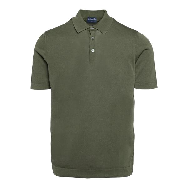 Lightweight military green polo shirt                                                                                                                 Drumohr D0GF202 back